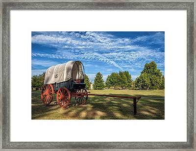 Covered Wagon And Blue Sky Framed Print by James Barber