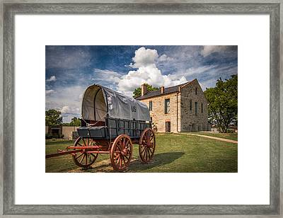Covered Wagon And Stone Building With Texture Framed Print by James Barber