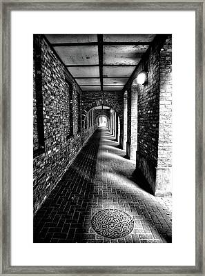 Covered Walkway In Londons Wapping Docklands Framed Print