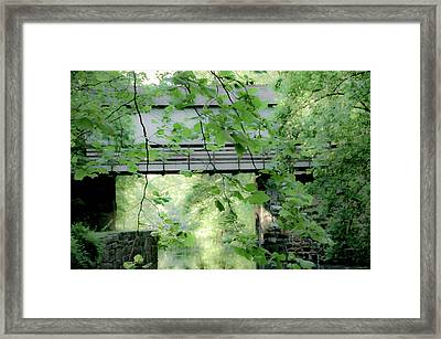 Covered Bridge Over A Canal Framed Print