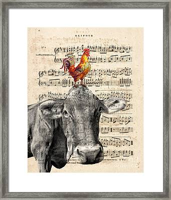 Cow And Rooster Framed Print by Delphimages Photo Creations