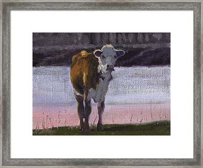 Framed Print featuring the painting Cow At The Pond by John Reynolds