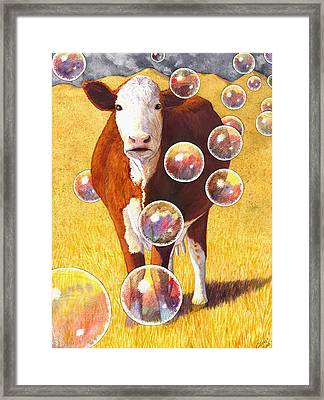 Cow Bubbles Framed Print by Catherine G McElroy