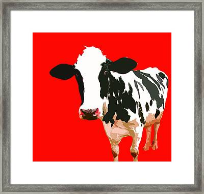 Cow In Red World Framed Print by Peter Oconor