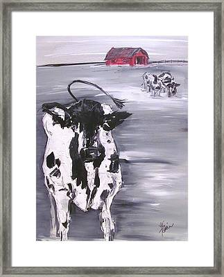Cow In Winter Framed Print by Terri Einer