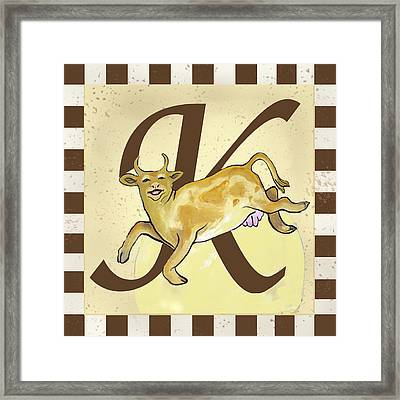 Cow Jump Over The Initialed Moon  Framed Print by Terri B Webb