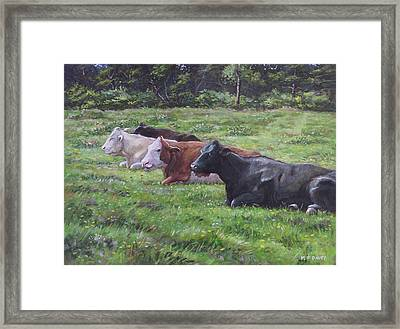 Framed Print featuring the painting Cow Line Up In Field by Martin Davey