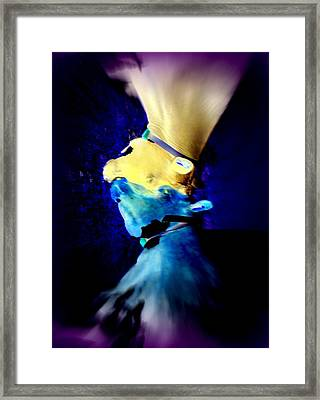 When The Cow Does Not Dare To Fly Alone It Flies With Its Imaginary Sister  Framed Print by Hilde Widerberg