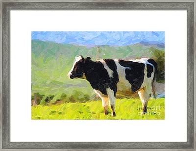 Cow On A Hill Framed Print by Wingsdomain Art and Photography