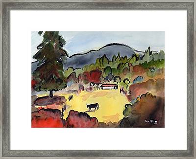 Cow On The Way To Alger Framed Print