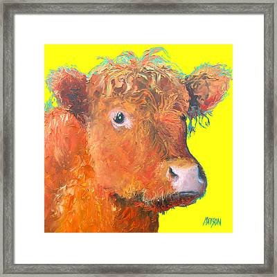 Cow Painting - Highland  Framed Print by Jan Matson