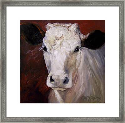 Cow Painting Of Charlene Framed Print by Cheri Wollenberg
