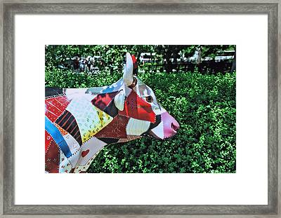Cow Parade N Y C  2000 - Crazy Quilt Cow Framed Print by Allen Beatty
