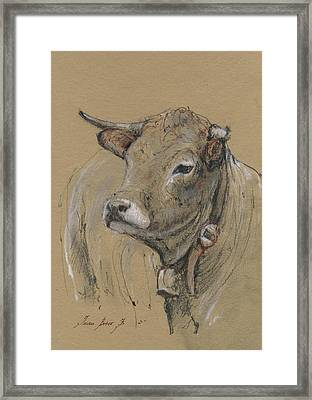 Cow Portrait Painting Framed Print