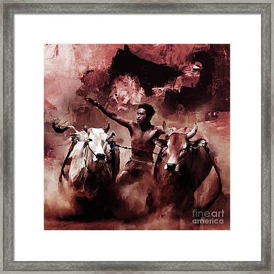 Cow Racing  Framed Print by Gull G