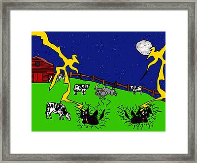 Cow Tipping Framed Print by Jera Sky