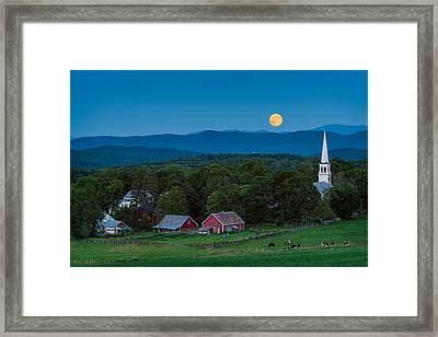 Cow Under The Moon Framed Print