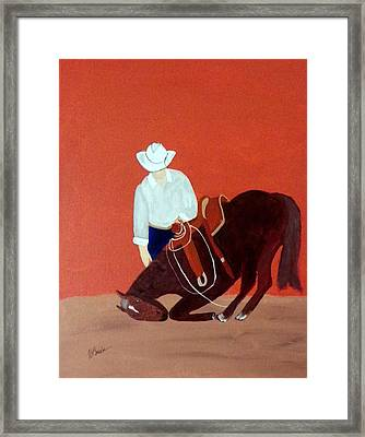 Cowboy And His Horse Framed Print