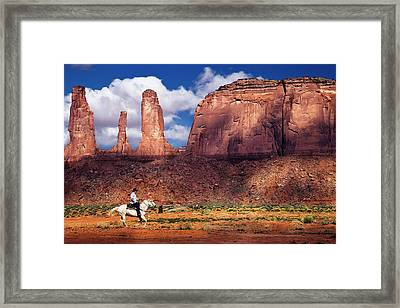 Cowboy And Three Sisters Framed Print by William Lee