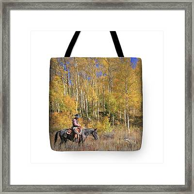 Cowboy At Work - Tote Framed Print by Donna Kennedy