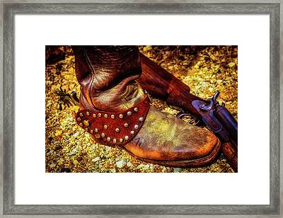 Cowboy Boot Wirth Spur And Shotgun Framed Print by Garry Gay