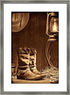 Cowboy Boots At The Ranch Framed Print