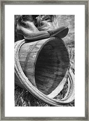 Cowboy Boots In Black And White Framed Print