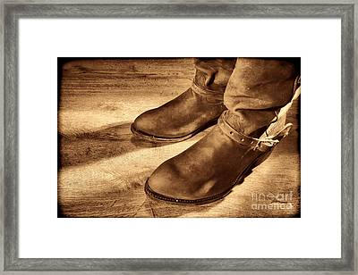 Cowboy Boots On Saloon Floor Framed Print