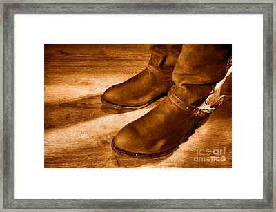 Cowboy Boots On Saloon Floor - Sepia Framed Print