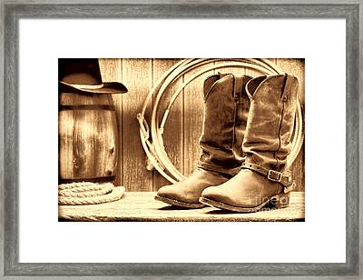 Cowboy Boots On The Deck Framed Print