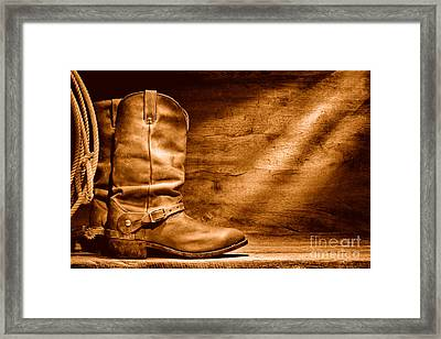 Cowboy Boots On Wood Floor - Sepia Framed Print