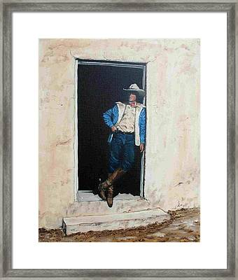 Framed Print featuring the painting Cowboy Cade by Mike Ivey