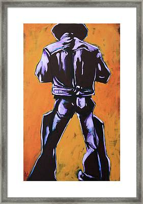 Cowboy Drumroll In Purple Framed Print by Chris Riley
