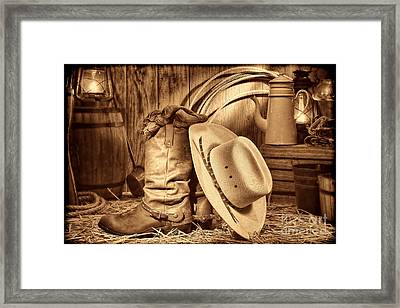 Cowboy Gear In Barn Framed Print