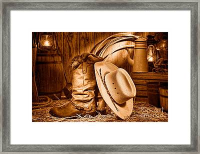 Cowboy Gear In Barn - Sepia  Framed Print