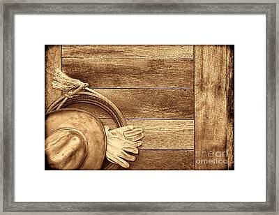 Cowboy Gear On The Floor Framed Print by American West Legend By Olivier Le Queinec
