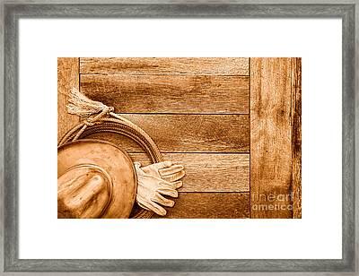 Cowboy Gear On The Floor - Sepia Framed Print