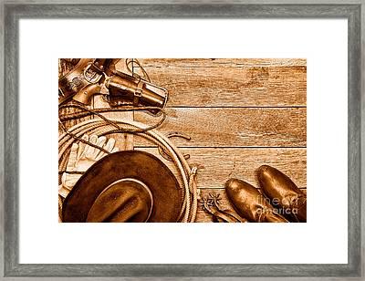 Cowboy Gear - Sepia Framed Print by Olivier Le Queinec