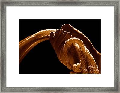 Cowboy Hand Holding Lasso - Sepia Framed Print