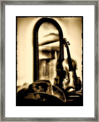 Cowboy Hat And Fiddle Framed Print by Bill Cannon