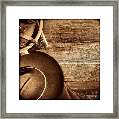 Cowboy Hat And Gear On Wood Framed Print