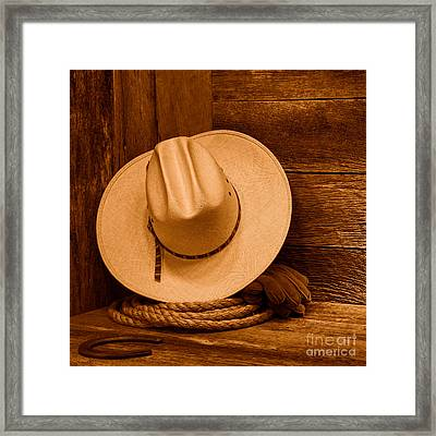 Cowboy Hat And Gear - Sepia Framed Print by Olivier Le Queinec