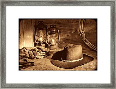 Cowboy Hat And Kerosene Lanterns Framed Print