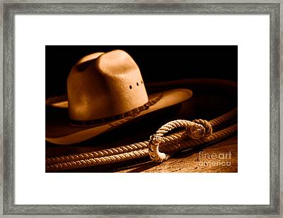 Cowboy Hat And Lasso - Sepia Framed Print
