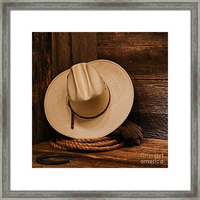 Cowboy Hat And Gear Framed Print