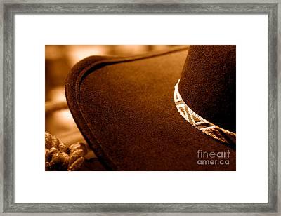 Cowboy Hat Detail - Sepia Framed Print