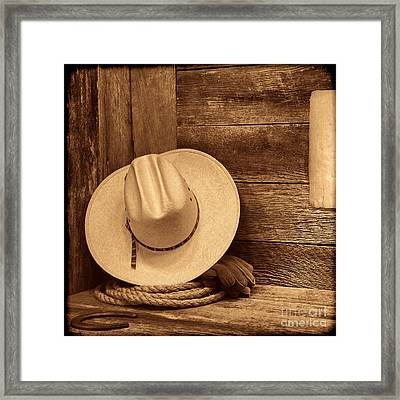 Cowboy Hat In Town Framed Print