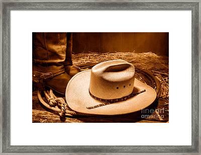 Cowboy Hat On Barn Floor - Sepia Framed Print