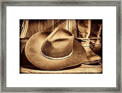 Cowboy Hat On Floor Framed Print