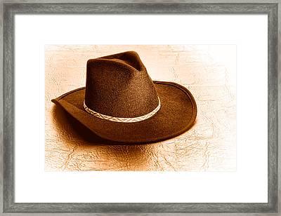 Cowboy Hat On Leather - Sepia Framed Print